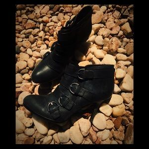Womans COACH Black Leather Heel Ankle Boots